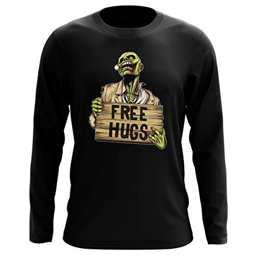 T-Shirt Manches Longues Noir Parodie The Walking Dead - Walking Dead Zombie - Free Hugs - Free Hugs - Zombie (T-Shirt de qualité Premium de Taille XL