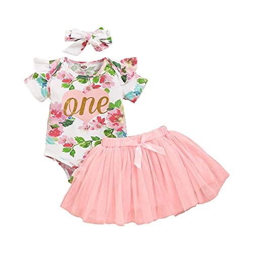 Completini da Bambina Neonato Tutina Abbigliamento 3 Pezzi Vestito Principessa Pagliaccetto Costume da Bambino Top + Gonna di Garza + Fascia Capelli 0-24 Mesi