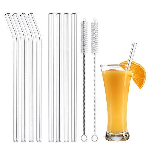 8 Stück Glas Strohhalm Wiederverwendbar Glas Trinkhalme Eco Nachhaltige Strohhalme mit 2 Reinigungsbürsten für Cocktail Smoothie Tee (4 Gebogen + 4 Gerade)