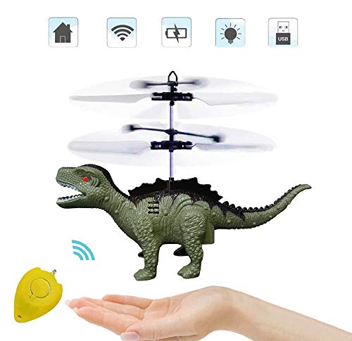 Flying Ball Toys-Controlled Helicopter Toy & RC Helicopter Dinosaur Toys with Mini Remote and Hand Controlled Dragon Dinosaurs Helicopter for Kids Boys Girls Gifts (Green)