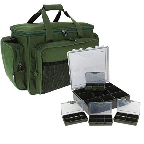 CARP FISHING HOLDALL TACKLE BAG + TACKLE BOX STORAGE SYSTEM LUGGAGE COMBO