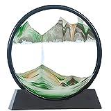 LXTIN Pintura de Arena Que Fluye Arena en Movimiento Imagen Redonda Dinámica 3D Paisaje Natural Marco de Arena de Vidrio para Adultos Juguetes relajantes Decoración Escritorio Oficina en