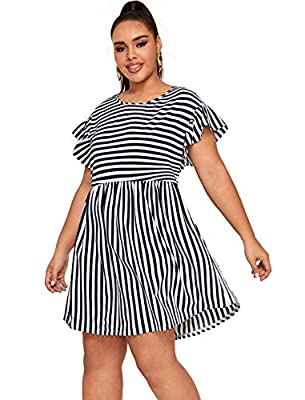 Milumia Women's Plus Size Casual Cap Sleeve High Waist Ruffle Pleated Short Dress