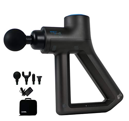WNL Products amp12TRiO™ Percussion Massage Gun - Handheld Portable Deep Tissue Muscle Percussive Massager for Athletes - 7 Hour Battery, 3 Handle Multi-Grip, 4 Massage Heads, 4 Speeds & Carry Case