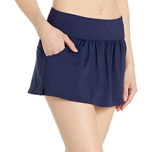 Anne Cole Women's Skirted Bikini Swim Bottom with Pockets, Navy 2, Small
