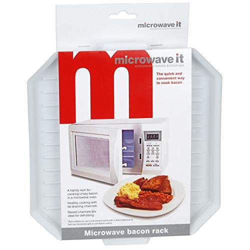 Microwave It PP348 Bacon Rack Crisper Tray Cooker Microwaveable Cook Defrosting Plastic Breakfast Meal Plate