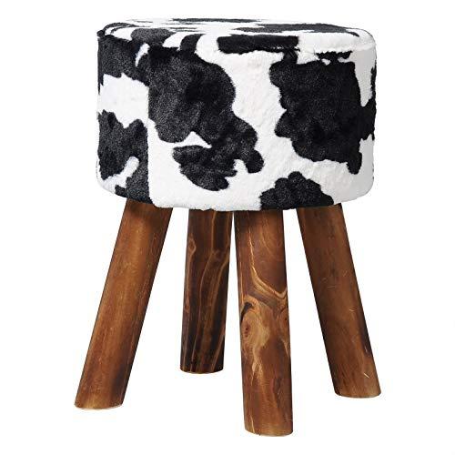 WOLTU Fellhocker Sitzhocker mit Fell Fußhocker Stuhl, Gepolsterte Sitzfläche aus Plüsch, Fußbeine aus Massivholz, belastbar bis 150KG, 28x28x40CM, Weiß+Schwarz SH17wss