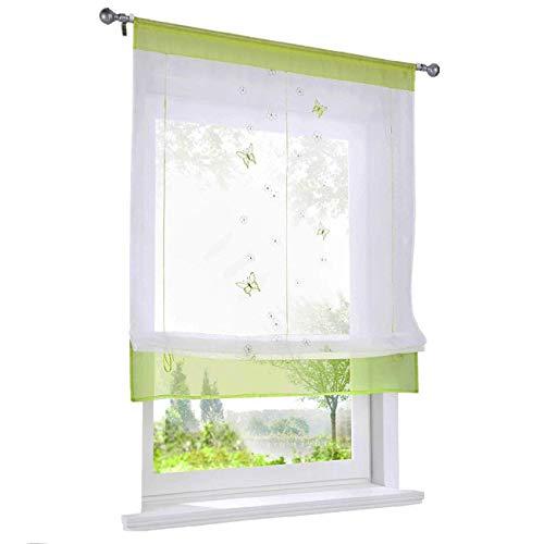 ESLIR Raffrollo Küche Raffgardine mit Tunnelzug Gardinen Transparent Bändchenrollo mit Schmetterling Bestickt Voile Grün BxH 80x120cm 1 Stück
