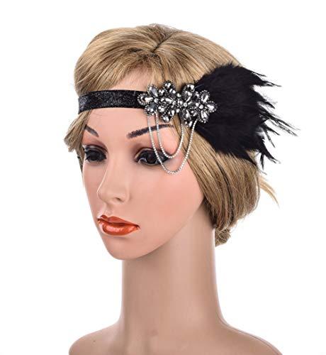 Charmstep Retro Flapper Feather Stirnband der 1920er Jahre große Gatsby Crystal Headpiece Braut für Party Prom,black1,OneSize