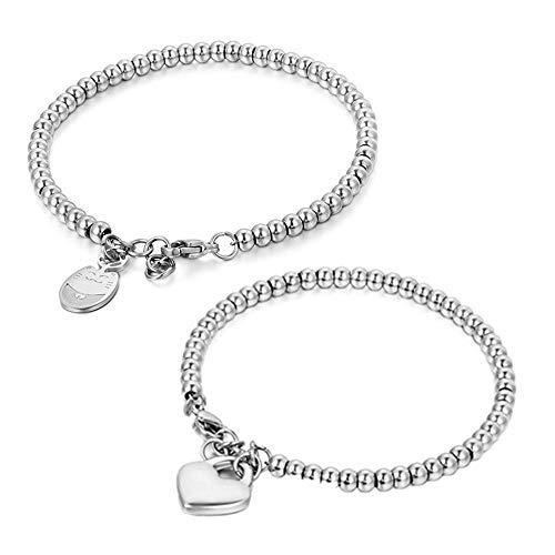 JewelryWe - Pulsera de la suerte de acero inoxidable brillante, con bolas de estilo sencillo y un pequeño colgante en forma de gato de la suerte. Ideal para mujeres y novias