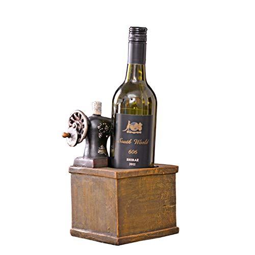 YHX Artesanías de Resina envejecidas Antiguas, Accesorios para el hogar de Muebles Suaves, estantes para Vino con Forma de máquina de Coser, Decoraciones para Ventanas