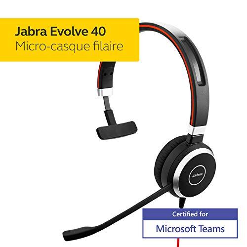 Jabra Evolve 40 MS Mono Casque audio – Casque certifié Microsoft pour VoIP Softphone avec annulation passive du bruit…