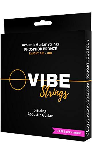 Vibe Strings Corde Chitarra Acustica 010-048 ExLight, Phosphor Bronze