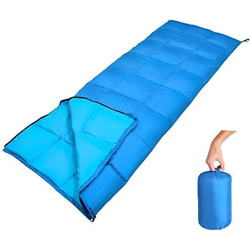 GEERTOP Daunenschlafsack Schlafsack Warm Leichtgewichtiger Komfort 10 C / 50 F mit tragbarem Sack für Innenisolierung und Outdoor Wandern Rucksack und Camping (Hellblau)