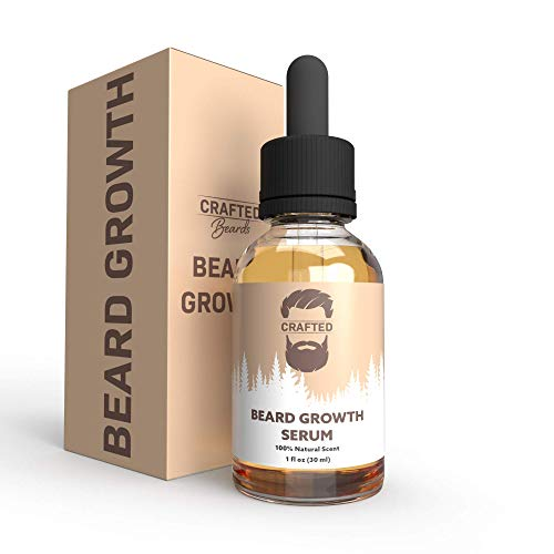 Beard Growth Oil - Crafted's Beard Growth Serum - Help Fill in Patchy or Bald Spots in 4-8 Weeks - Get a Thicker, Fuller, Healthier Beard - Best Gift For Men