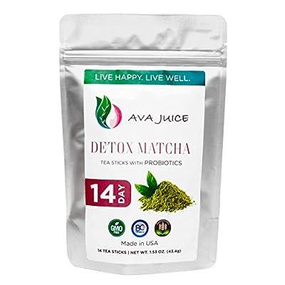 Ava Juice Detox Tea - Organic Cleanse Drink with Probiotics - Improved Digestive Health and Immune System - Culinary-Grade Japanese Matcha - 14 Tea Sticks by Ava Juice Global Llc