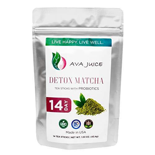 Ava Juice Detox Tea - Organic Cleanse Drink with Probiotics - Improved Digestive Health and Immune System - Culinary-Grade Japanese Matcha - 14 Tea Sticks