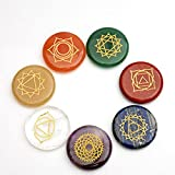<span class='highlight'><span class='highlight'>IXIGER</span></span> Natural Healing Crystal Chakra Stones for Crystal Therapy, Chakra Healing, Meditation, Worry Stones, Relaxation, Decor. (Weights About 42g 7 Gold Carved Characters Chakra Stones)