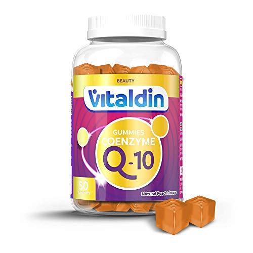 VITALDIN Coenzima Q10 gummies - 200 mg de CoQ10 por dosis diaria - 50 gominolas (suministro para 1 mes aprox.), sabor Melocotón - Suplemento de Belleza - Antioxidante & Renovación Celular - Sin Gluten