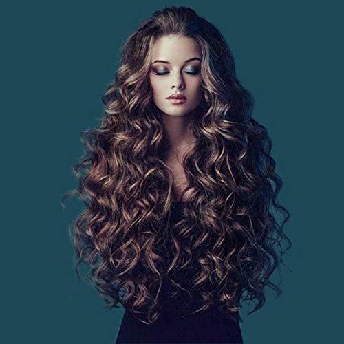 Bruin gouden vrouwelijke pruik, lang krullend haar, golvend krullend haar, ademend roze binnennet, geschikt voor pruiken voor Halloween, carnaval, dans, feest