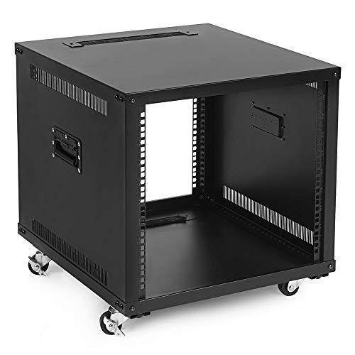 NavePoint 9U Portable Rolling Network Rack, Adjustable Depth 2.5 to 22.6 Inches, Top and Bottom Cable Management, Built-in Handles, Locking Swivel Caster Wheels, Audio Video, Telecom, Equipment Rack