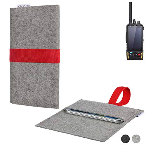 flat.design Handy Hülle Aveiro für Ruggear RG760 maßgeschneiderte Handytasche Filz Tasche Sleeve Pouch Grau rot