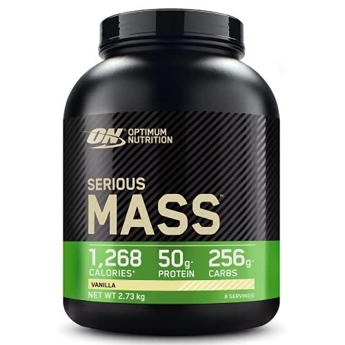 Optimum Nutrition Serious Mass Proteina en Polvo, Mass Gainer Alto en Proteína, con Vitaminas, Creatina y Glutamina, Vainilla, 8 Porciones, 2,73kg, Embalaje Puede Variar