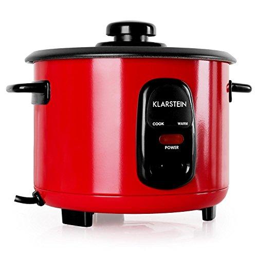Klarstein Osaka 1.0 Rubin Red Edition - Reiskocher, elektrischer Reiskochtopf, 1 Liter, 400 Watt, Warmhaltefunktion, Einsatzwanne, antihaftbeschichtet, Ein-Knopf-Bedienung, rot