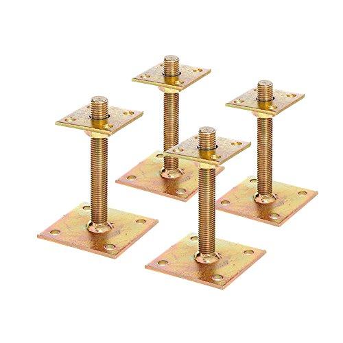 4X Pfostenträger Aufschrauben 30-150mm Höhenverstellbar Schwerlastanker gelb verzinkt 70x70