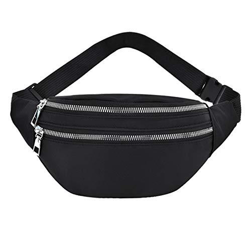 MVPACKEEY Riñonera para hombre y mujer, con múltiples bolsillos, impermeable, para deportes al aire libre, tela Oxford (negro)