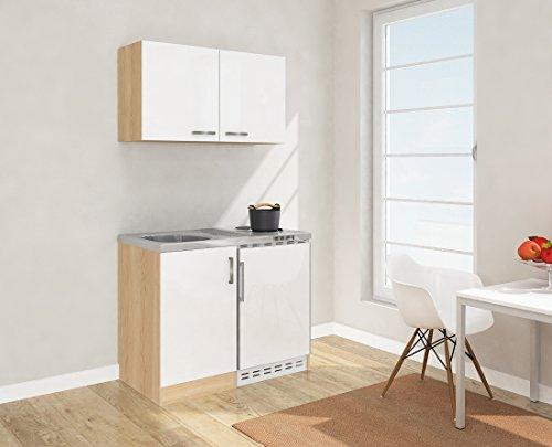 respekta, mini cucina singola, della larghezza di 100 cm, con incluso:  Pensile superiore da cucina, in finto legno di rovere, con lato anteriore di colore bianco, MK 100 ESWOS