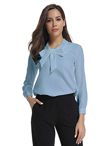 Womens Bow Tie Neck Long Sleeve Casual Office Work Chiffon Blouse Shirts Tops Blue Tag XL-US 2XL