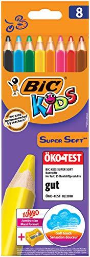 BIC Kids Jumbo Dreikant Buntstifte Set für Kinder ab 3 Jahren - malen wie Wachsmalstifte – Buntstifte 8er Set - 8 bruchsichere Stifte + Jumbo Anspitzer