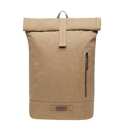 "KAUKKO Casual Daypacks Multipurpose Backpacks, Outdoor Backpack, Travel Rucksack, Laptop Backpack Fits 15"" (Canvas Khaki)"