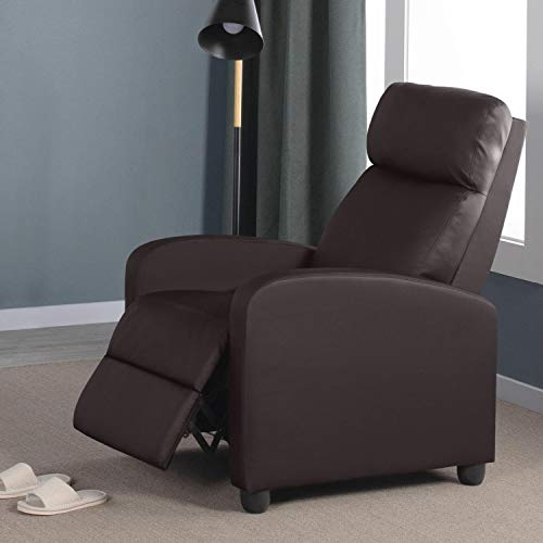 Yaheetech Recliner Armchair Single Padded Seat PU Leather Sofa Lounge Seating w/Adjustable Leg Rest and Reclining Functions for Home/Living Room/Theater Brown