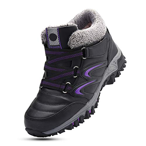 gracosy Women Flat Walking Hiking Ankle Boots, Winter Low Rise Slip On Trekking Footwear Anti-Slip Shoes with Fur Lined Outdoor Lace- Up Lightweight Breathable Warm Snow Boots Running Boots