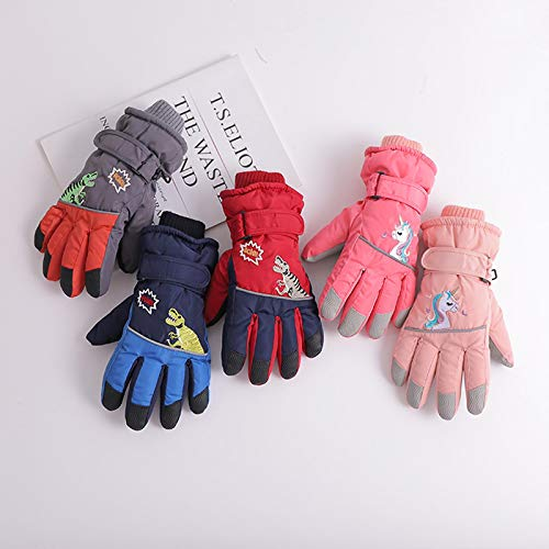 Weihnachten Kinder Ski Handschuhe Winter warme Mädchen wasserdichte Prinzessin Grundschule Kinder Jungen Spielen Schnee Baby Fünf-Finger-Mädchen 均码 Lake Green - Schwan (6-12 Jahre)