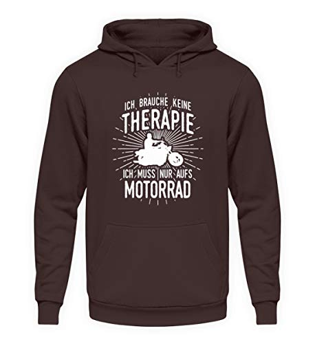 shirt-o-magic Motorradfahrer: Therapie? Lieber Motorrad - Unisex Kapuzenpullover Hoodie -XL-Schokolade
