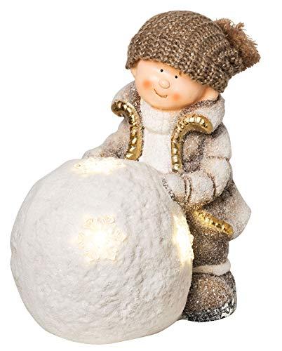 Wichtelstube-Kollektion XL 36cm Winterkind Junge mit LED Schneeball Deko Keramikfigur Weihnachten