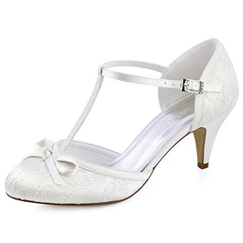 Elegantpark HC1721 Femmes Bout fermé Talons Aiguilles Escarpins T-Strap Boucle Arc Dentelle Chaussures de mariée de Mariage Ivoire EU 38