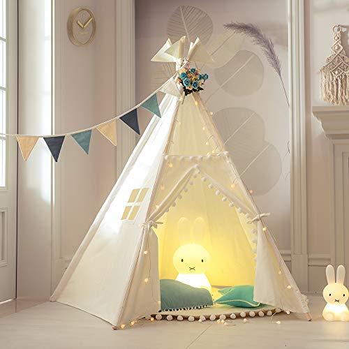TreeBud Tienda Tipi Infantil con Tapete - Tienda Indio Grande con Cinco Postes para Niños Casa de Juegos con Pompón y Encaje - Tipi de Lona de Algodón con Bolsa de Transporte
