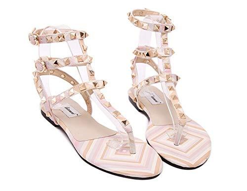 Zapatos con flip-flop Sandalias planas Moda femenina Verano Mujer Hebilla Correa Sandalias con remaches Zapatos de gladiador Pisos Sandalias con flip flop Tallas grandes 44 45 43, Color de foto, 40
