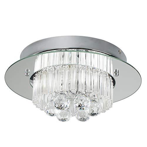 Lámpara de techo con bombillas de 2 niveles K5, diseño de halo de cromo cepillado moderno con diseño de halo