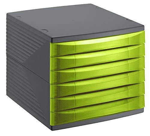 Rotho Quadra, Cajón, caja de oficina con 6 cajones, Plástico PP sin BPA, verde, antracita, 36.5 x 28.0 x 25.0 cm