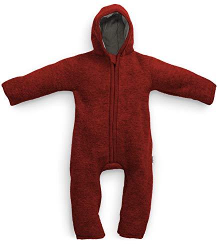 Ehrenkind® WALKOVERALL | Baby Wollwalk-Overalls aus Natur Schurwolle mit Reißverschluss | Walk Wolle Woll-Anzug für Kleinkind und Baby | Rot Gr. 62/68