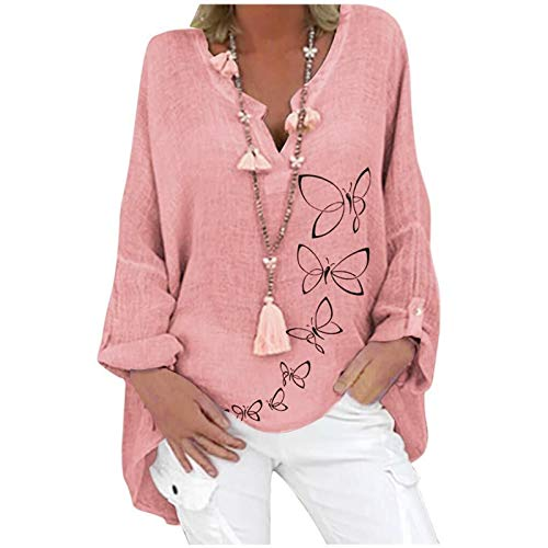 Damska lniana bluzka oversize Elegancka bluzka z nadrukiem w motyle Lniana bluzka z dekoltem w serek Topy Tunika Luźne długie bluzki (Color : Pink, Size : Medium)