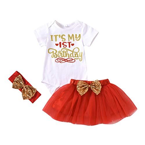 Pxyaz Kleinkind Kinder Baby Mädchen 1. Geburtstagstorte Smash Outfit Letter One Kurzarm Strampler Tutu Rock Stirnband Geburtstagsfeier Kleidung Foto Requisiten 3 Stück Set,Rot,3~6 Months