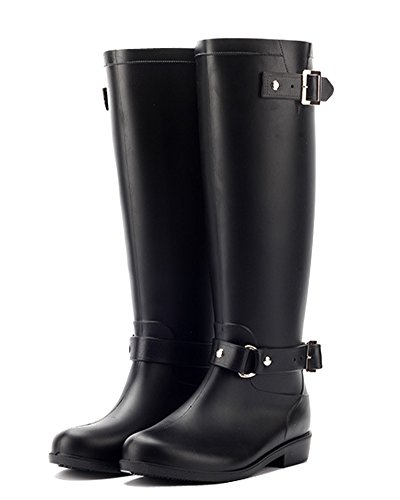Minetom Donna Stivali Alti Stivali Rain Boots Stivali Da Pioggia Nero EU 39