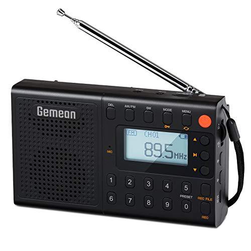 GemeanJ-401 FM/AM/SWデジタル携帯ラジオ ポータブル ラジオ 高感度受信「プレセット機能、録音機能付き」...