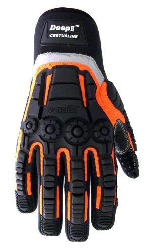 Ceste Deep II Or-3035 XL Pro Series Deep II Impact de gant, travail, résistance aux coupures, XL, Rouge
